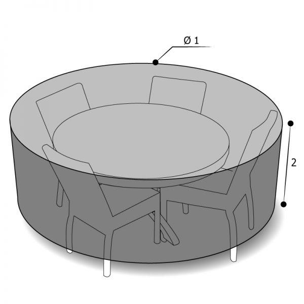 housse sur mesure salon de jardin rond avec dimensions
