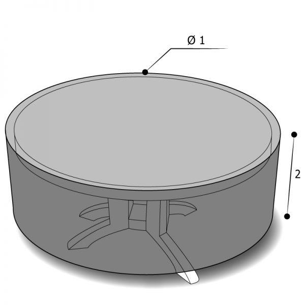 Housse sur mesure table ronde avec dimensions