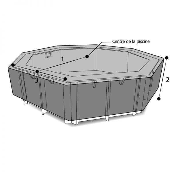 Housse de protection piscine octogonale
