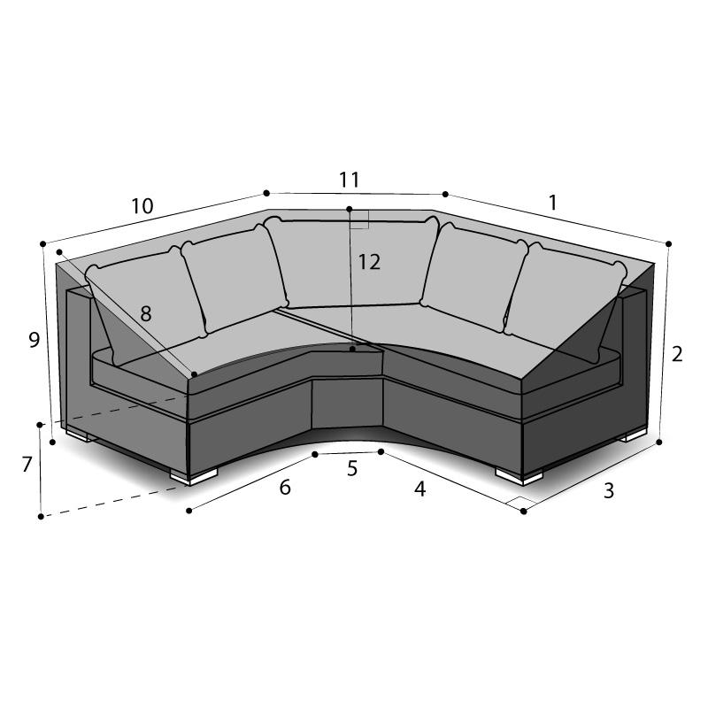 Housse sur mesure de protection canapé d'angle arrondi