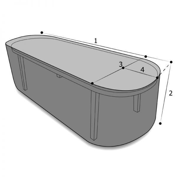 housse de protection sur mesure pour table ovale