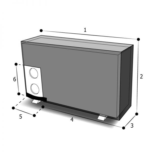 housse sur mesure de protectiion pompe à chaleur tuyaux sur l'arrière