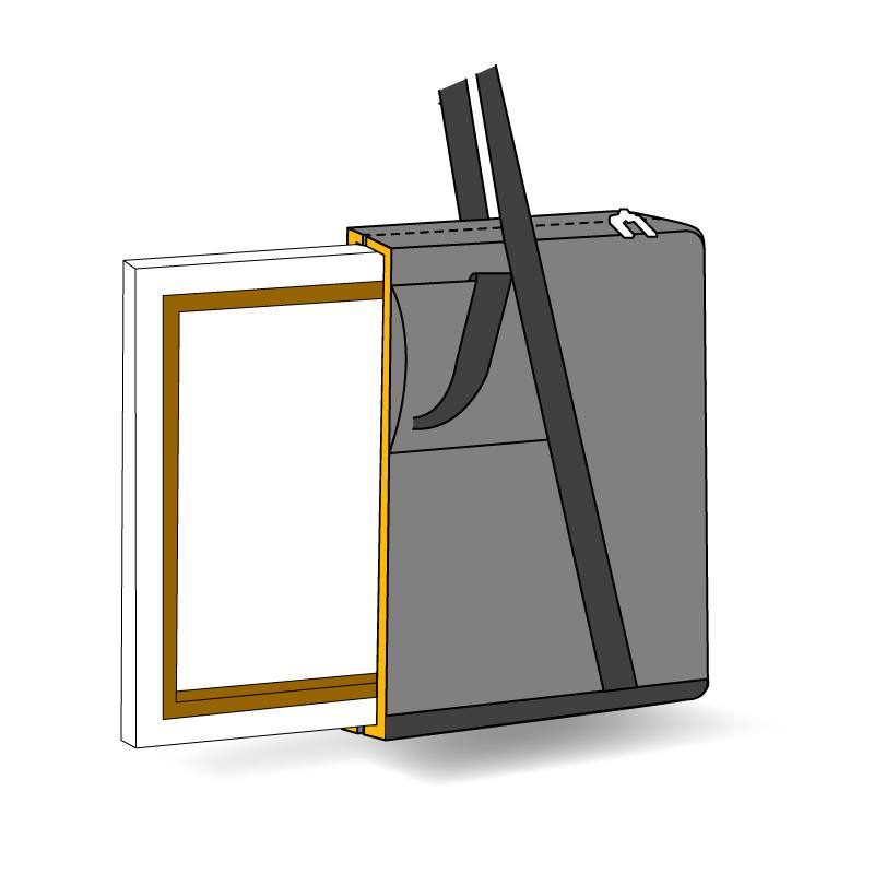 sac sur mesure rectangulaire pour tableaux vue en transparence