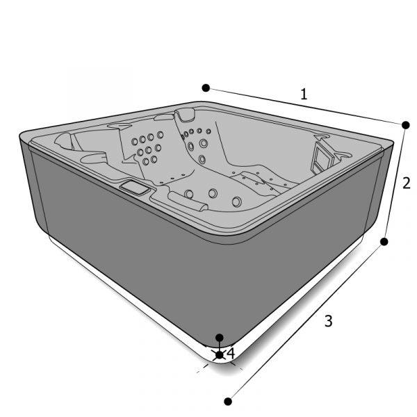 housse sur mesure spa rectangulaire à angles arrondis